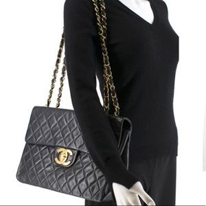 CHANEL Vintage Jumbo XL Quilted Oversized CC Bag